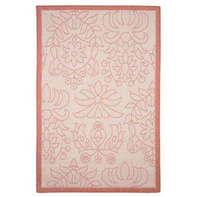 Botanical Orange 5 ft. x 8 ft. Indoor/Outdoor Area Rug