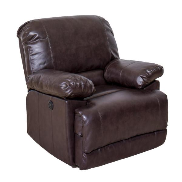 CorLiving Lea Chocolate Brown Bonded Leather Power Recliner with USB Port