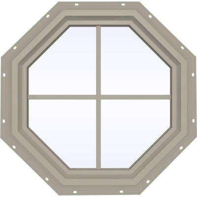 23.5 in. x 23.5 in. V-4500 Series Fixed Octagon Geometric Vinyl Window with Grids in Tan