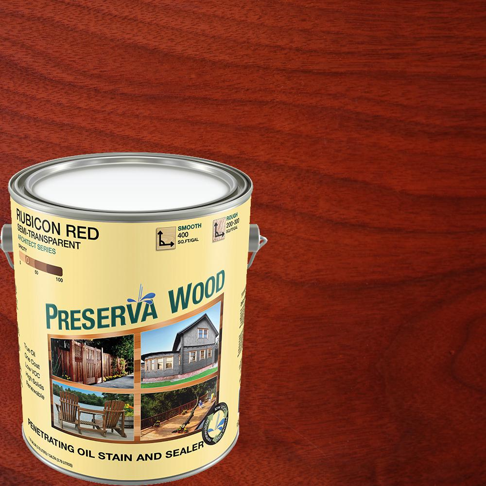 Preserva Wood 1 Gal Semi Transparent Oil Based Rubicon Red Exterior Wood Stain 11101 The Home