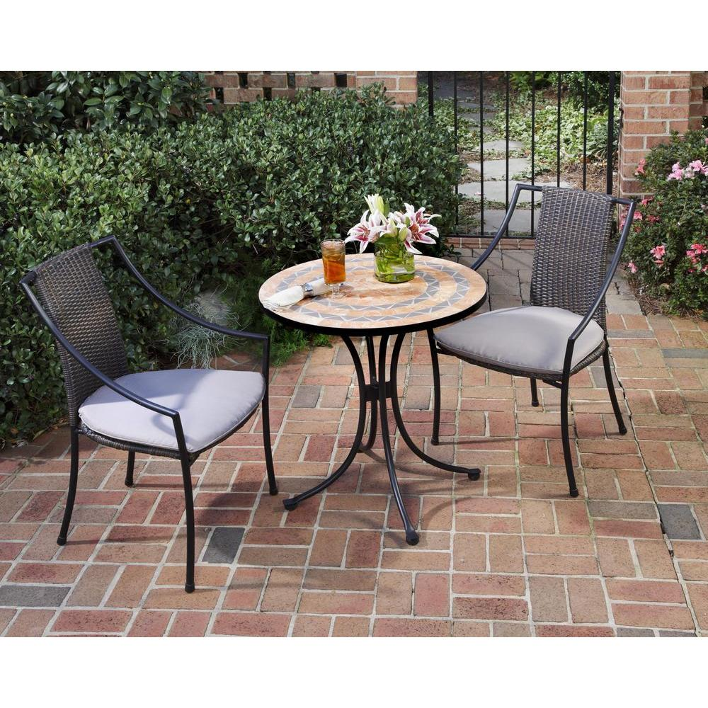 terra cotta 3 piece tile top patio bistro set with taupe cushions - Garden Furniture Table And Chairs