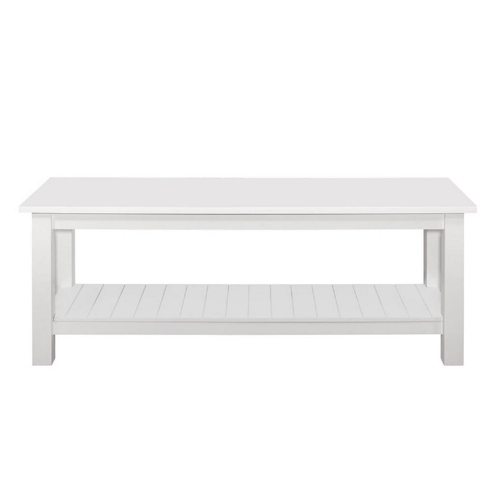 Walker Edison Furniture Company Country Style White Entry Bench With Slatted Shelf