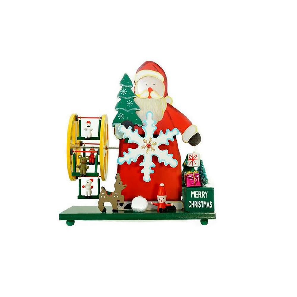 9.25 in. Wooden Santa Claus and Winter Wonderland Merry Christmas ...