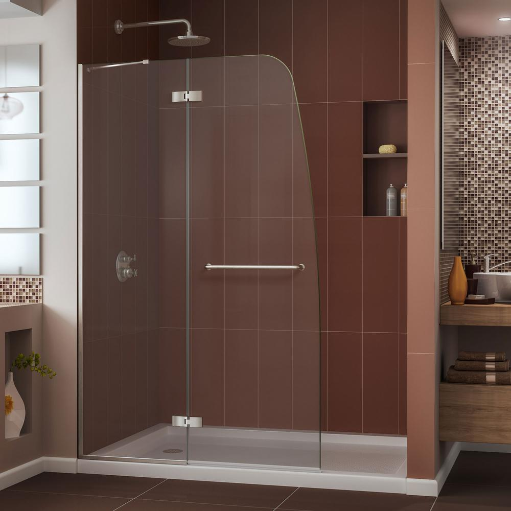 DreamLine Aqua Ultra 32 in. x 60 in. x 74.75 in. Semi-Framed Hinged Shower Door in Brushed Nickel with Right Drain Acrylic Base