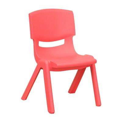 Red Plastic Stackable School Chair with 10.5 in. Seat Height