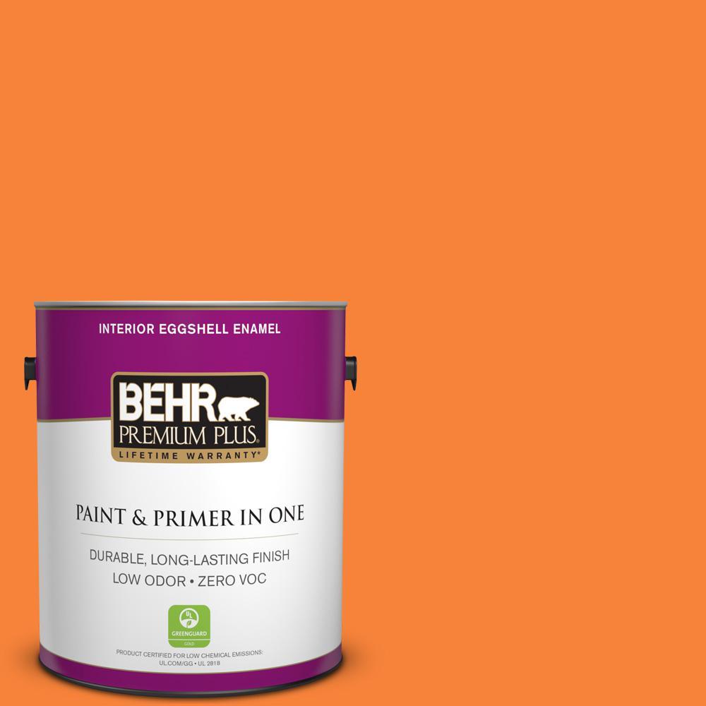 BEHR Premium Plus 1-gal. #230B-6 Orange Burst Zero VOC Eggshell Enamel Interior Paint