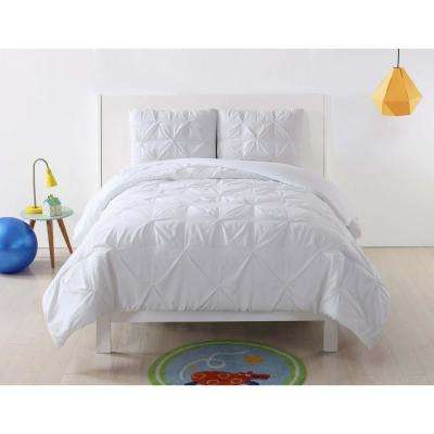 Anytime Pleated White Twin XL Comforter Set