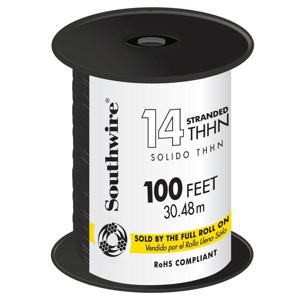 Southwire 100 ft. 14 Black Stranded THHN Wire