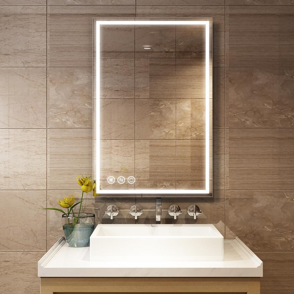 36 in. W x 24 in. H Frameless Rectangular LED Light Bathroom Vanity Mirror in Clear