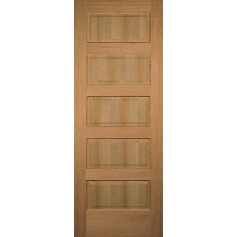 Builders Choice 30 In X 80 In 5 Panel Solid Core Hemlock Single Prehung Interior Door