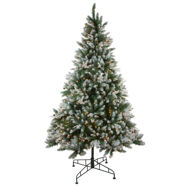 78 in. Pre-Lit Frosted Sierra Fir Artificial Christmas Tree with Clear Lights
