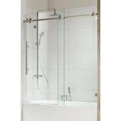Trident Premium 59 in. x 62 in. Frameless Sliding Shower Door in Chrome with Tempered Clear Glass