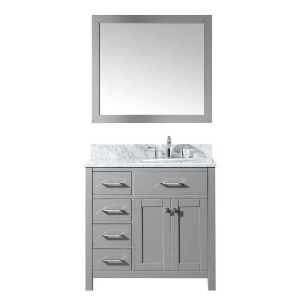 Caroline Parkway 36 in. W Bath Vanity in Cashmere Gray with Marble Vanity Top in White with Round Basin and Mirror