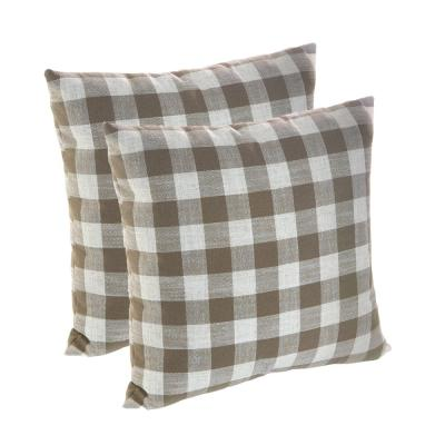 Liza Taupe Plaid 18 in. x 18 in. Throw Pillow (Set of 2)