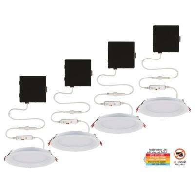 Slim Baffle 4 in. Color Selectable New Construction and Remodel Canless Recessed Integrated LED Kit (4-Pack)