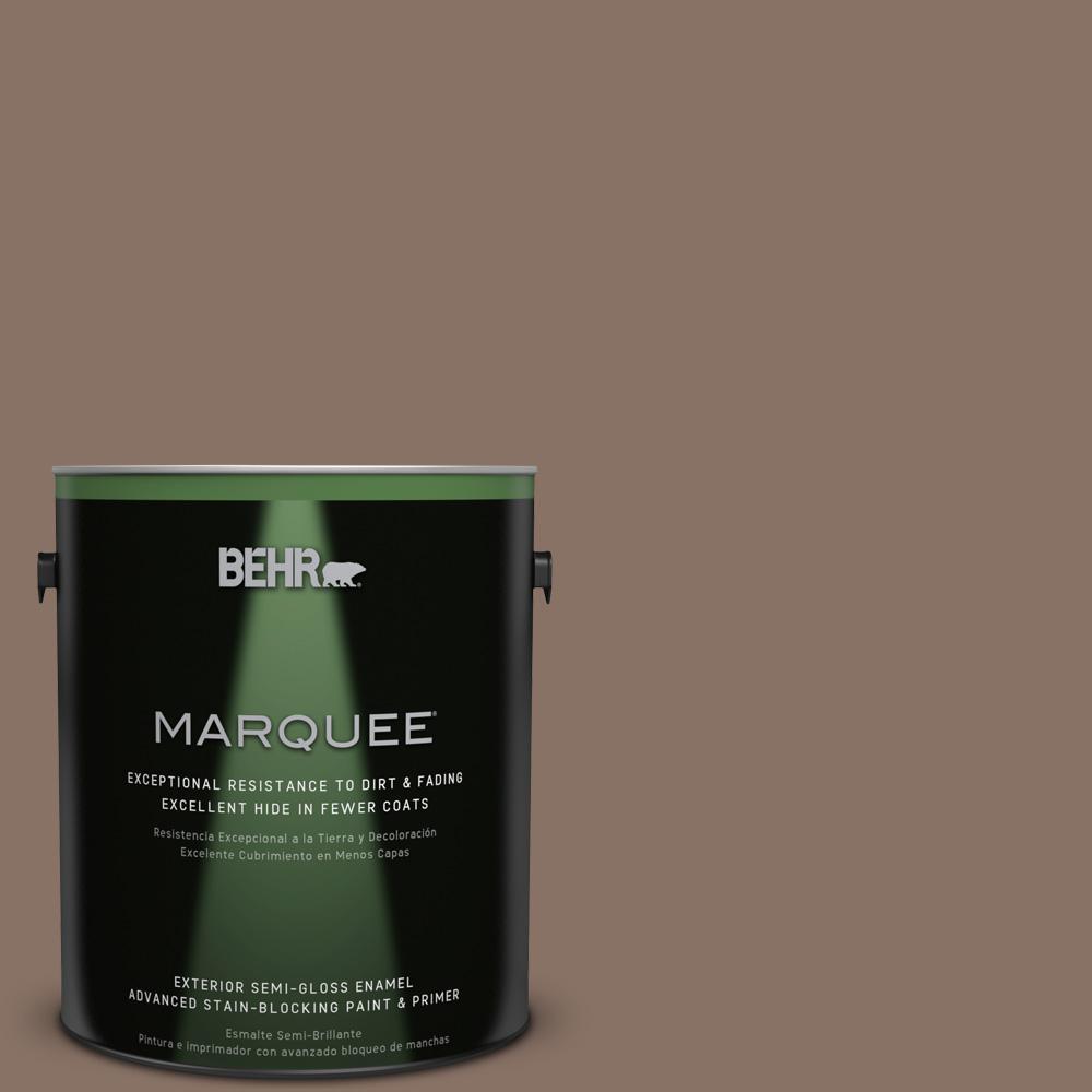 BEHR MARQUEE 1-gal. #770B-6 Oakwood Brown Semi-Gloss Enamel Exterior Paint