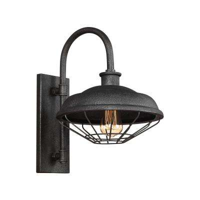 Lennex 1-Light Slated Grey Metal Outdoor 17.25 in. Wall Lantern Sconce