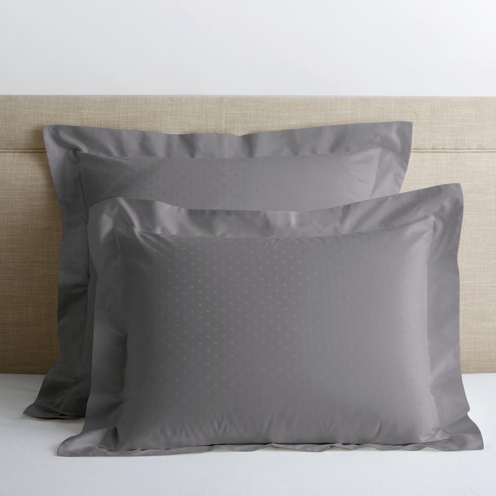 Legends Luxury Dot Gray Smoke 500-Thread Count Cotton Sateen Euro Sham
