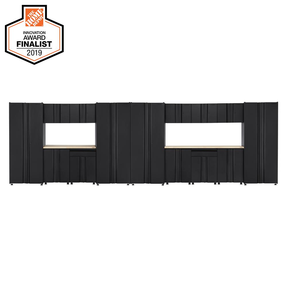 Husky Welded 242 in. W x 75 in. H x 19 in. D Steel Garage Cabinet Set in Black (16-Piece with Solid Wood Work Surface)