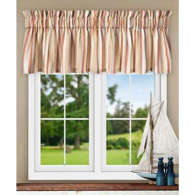 Mason Stripe 15 in. L Poly/Cotton Tailored Valance in Clay