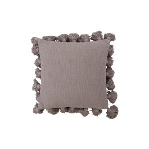 Grey Square Cotton Throw Pillow with Tassels