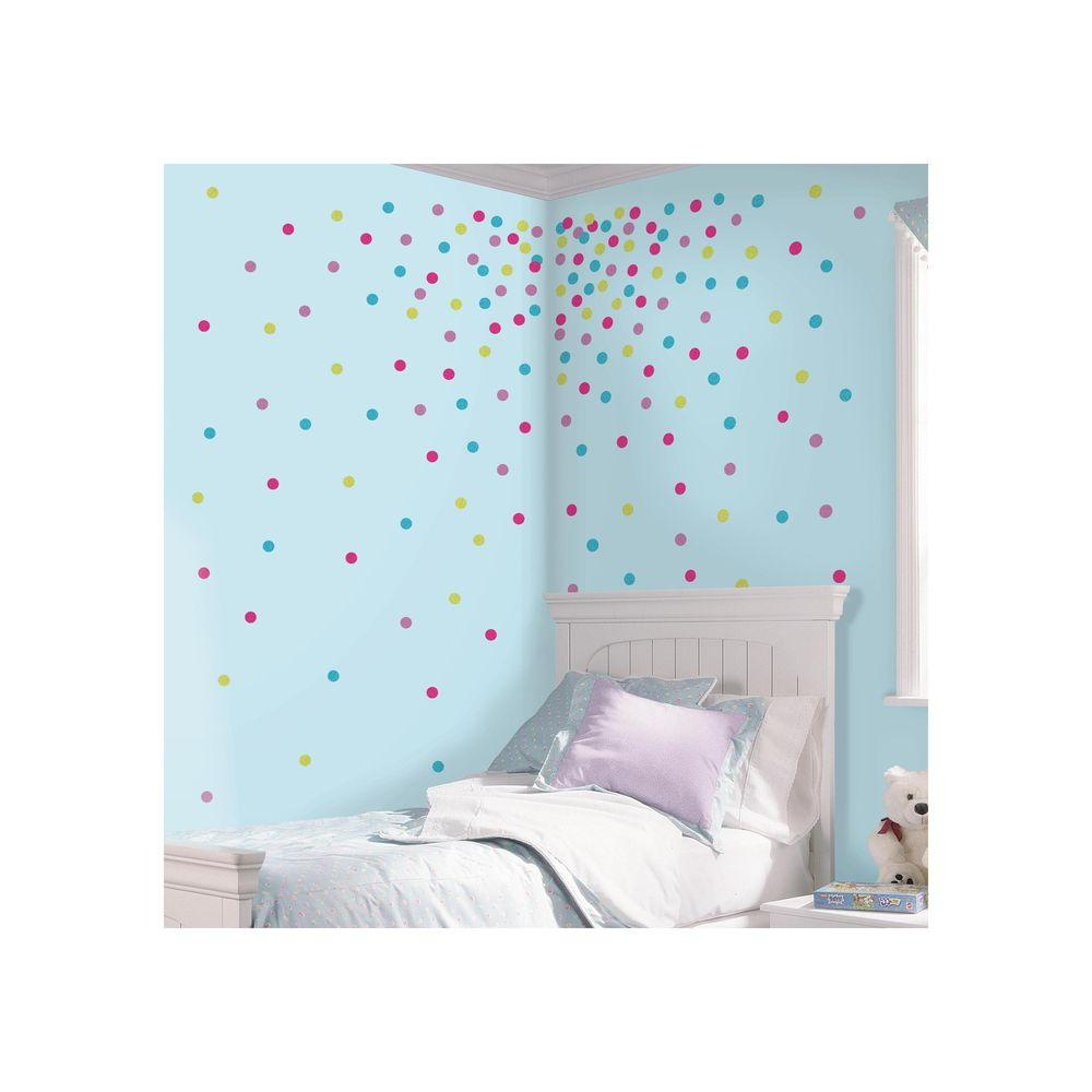 RoomMates 5 in. x 11.5 in. Multi Glitter Confetti Dots Peel and ...