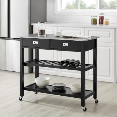 Chloe Black with Stainless Steel Top Kitchen Island