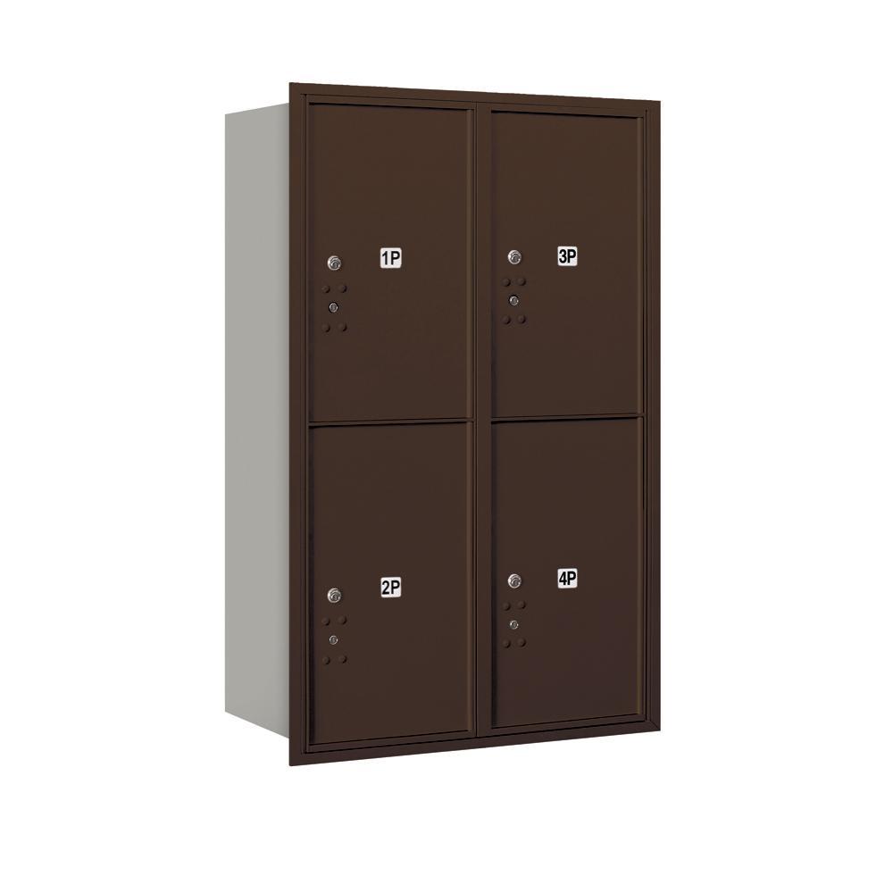 3700 Horizontal Series 4-Parcel Locker Recessed Mount Mailbox