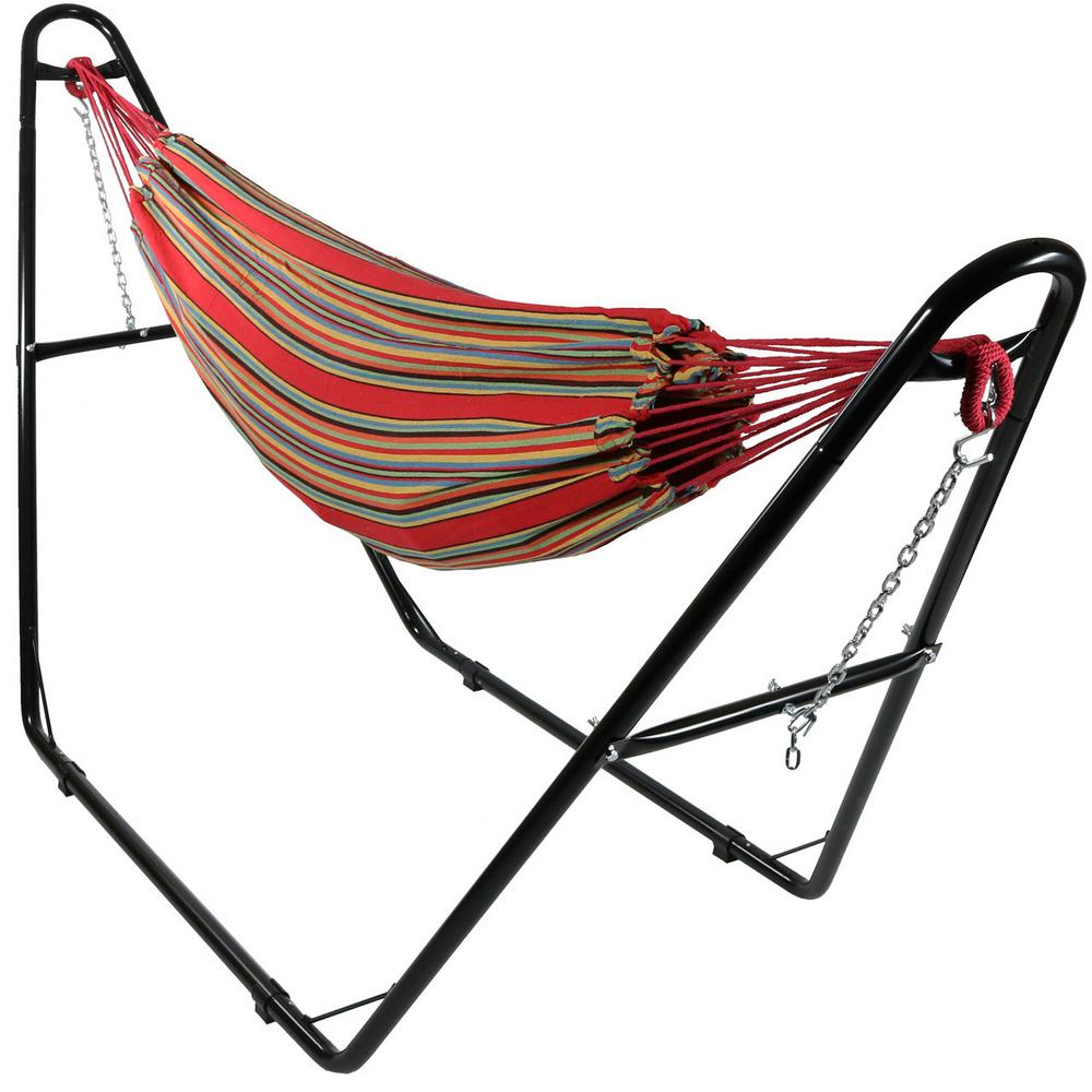 10.5 ft. Fabric Cotton Double Brazilian Hammock with Multi-Use Universal Stand