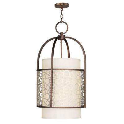 Providence 4-Light Palacial Bronze Foyer Light with Silk Champagne Hardback Shade and Gilded Accents