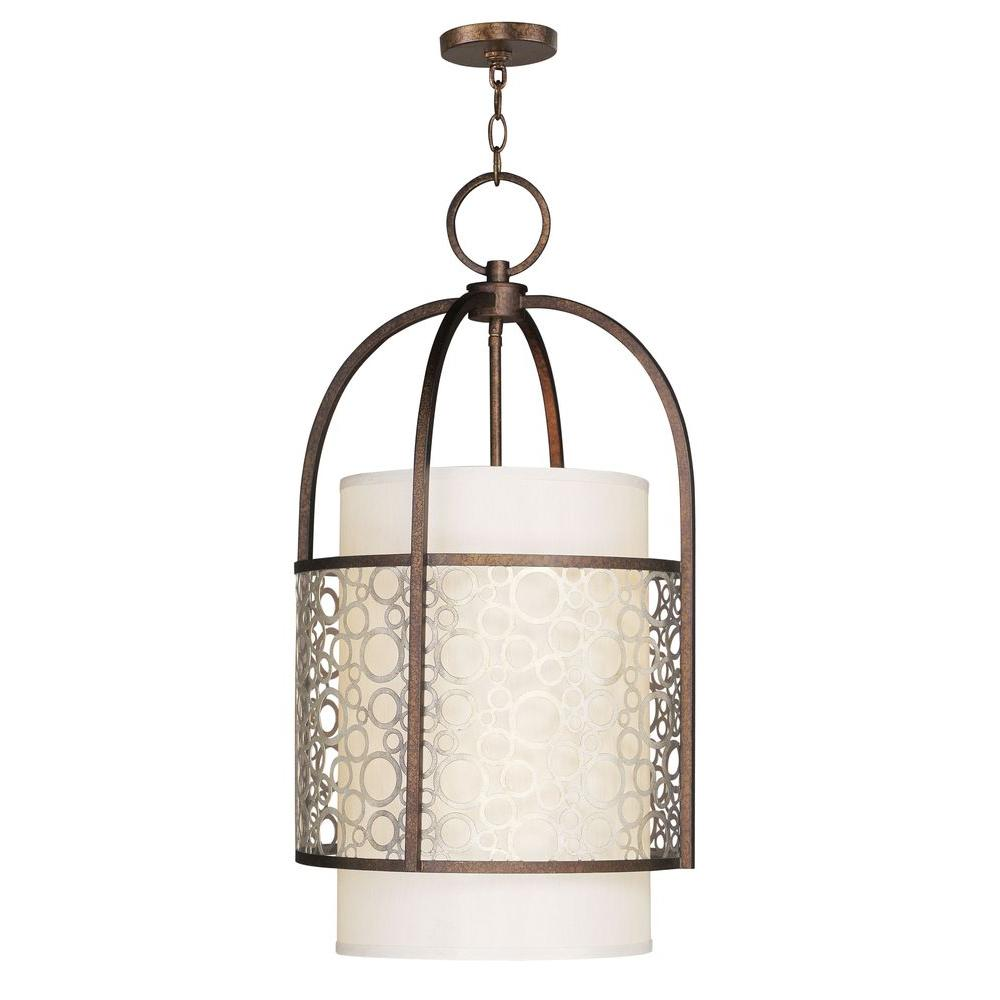 Livex Lighting Providence 2-Light Palacial Bronze Pendant with Silk Champagne Hardback Shade and Gilded Accents