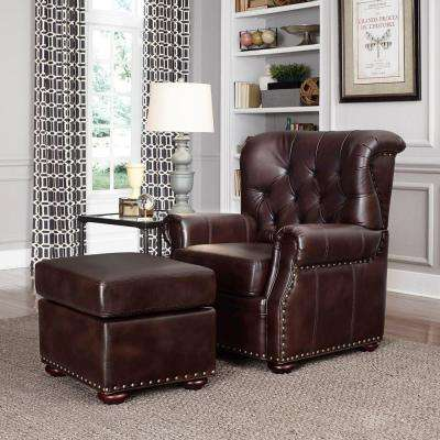 Melissa Cocoa Brown Faux Leather Arm Chair with Ottoman