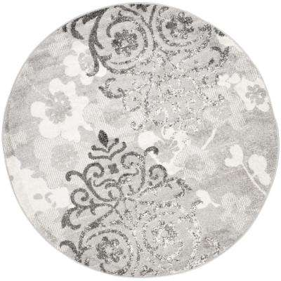 Silver 7 Round Floral Area Rugs Rugs The Home Depot