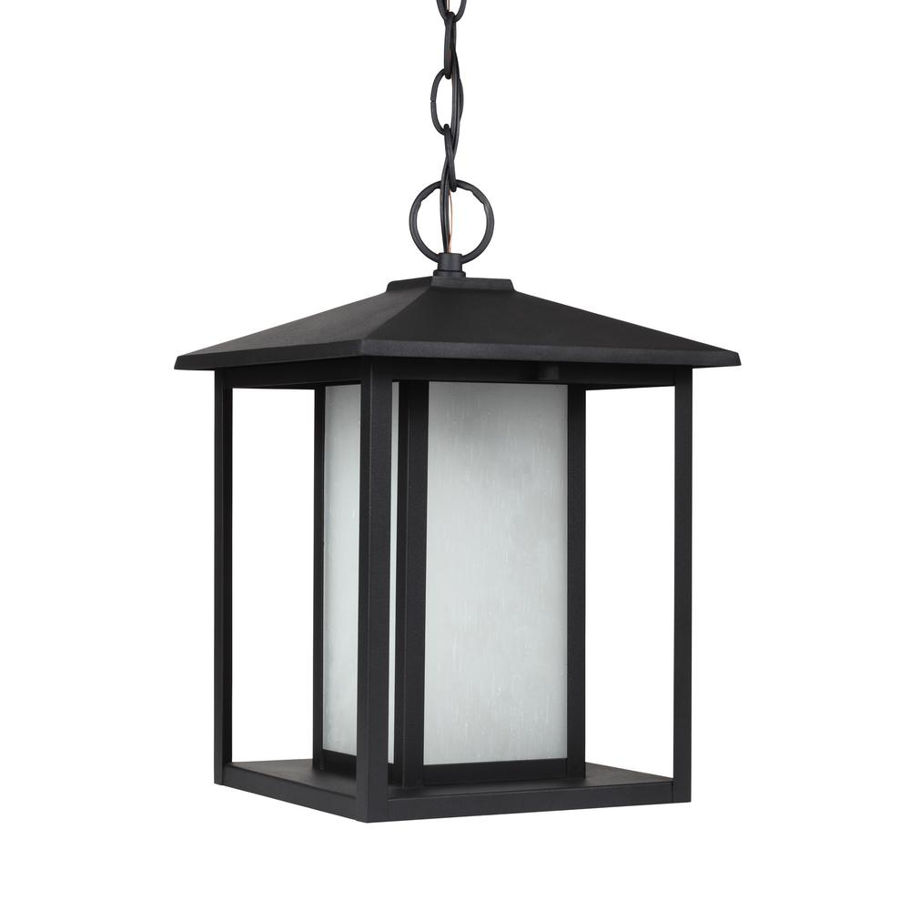 Hunnington Black 1-Light Outdoor Hanging Pendant with LED Bulb