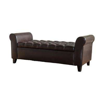 Keiko Tufted Brown Leather Armed Storage Bench