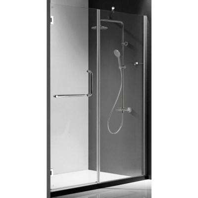 Prima Premium 59 in. x 72 in. Semi-Framed Pivot/Hinged Shower Door in Chrome with Tempered Clear Glass