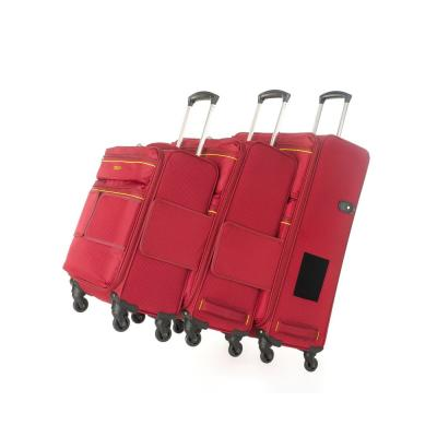 3-Piece Red Connectable Luggage