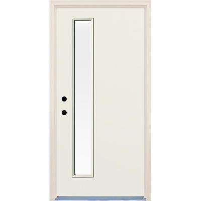 36 in. x 80 in. Right-Hand Raw 1 Lite Clear Glass Unfinished Fiberglass Prehung Front Door with Brickmould