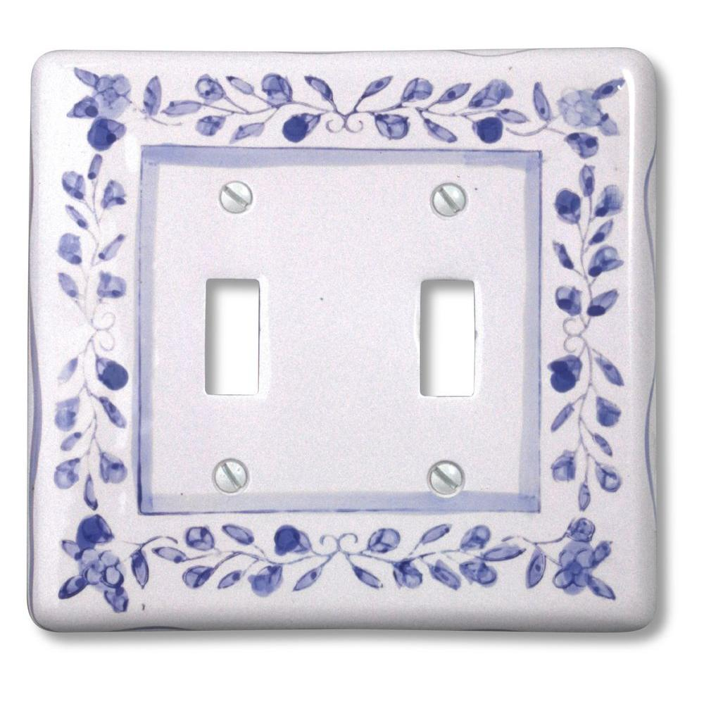 Amerelle Blue Bouquet 2 Toggle Wall Plate