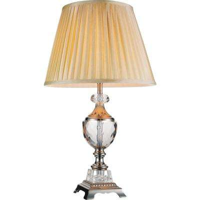 Yale 26 in. Brushed Nickel Table Lamp with Beige Shade