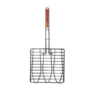 Non-Stick Triple Fish Grilling Basket With Folding Handle