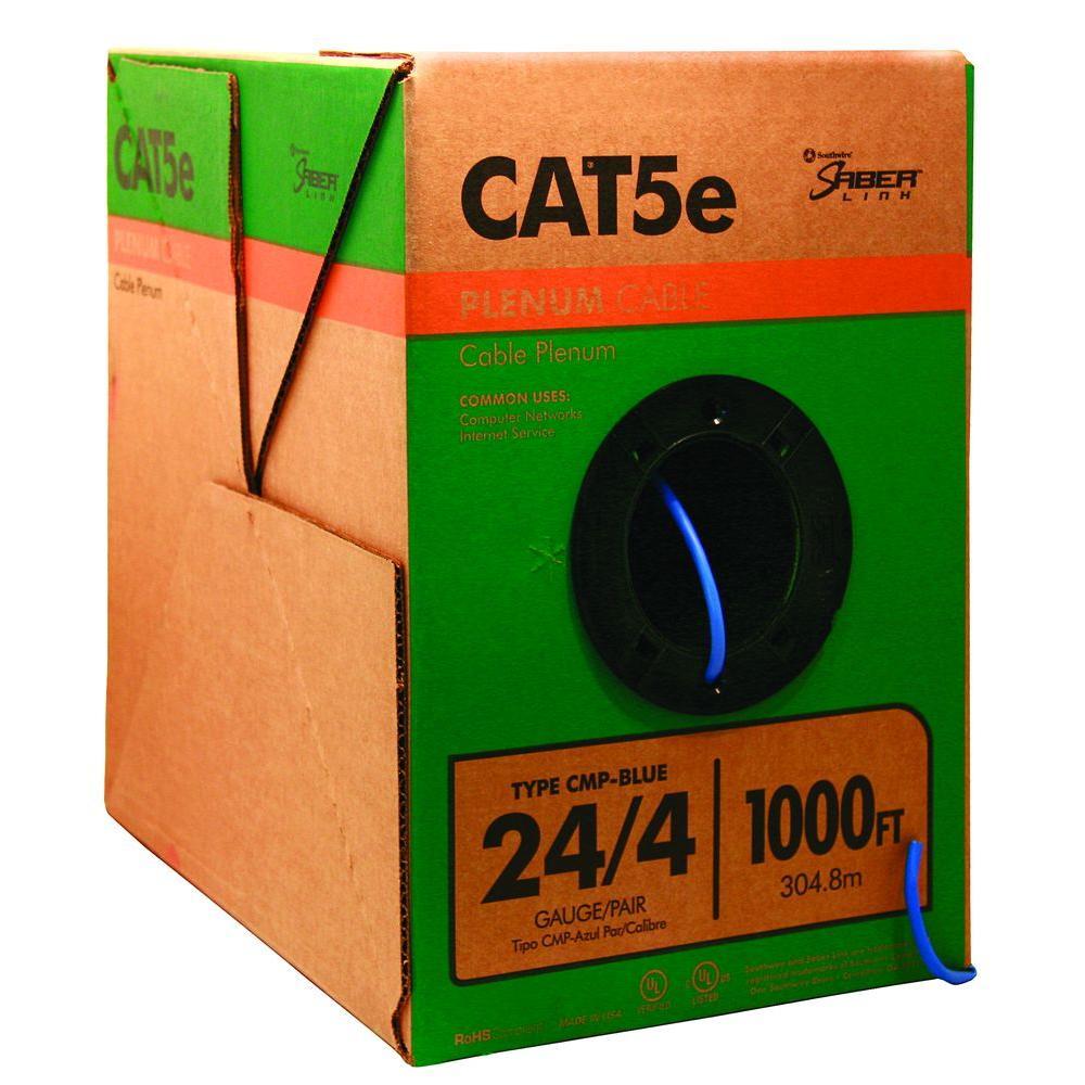 1000 ft. Blue 24/4 CAT5e CMP (Plenum) Data Cable