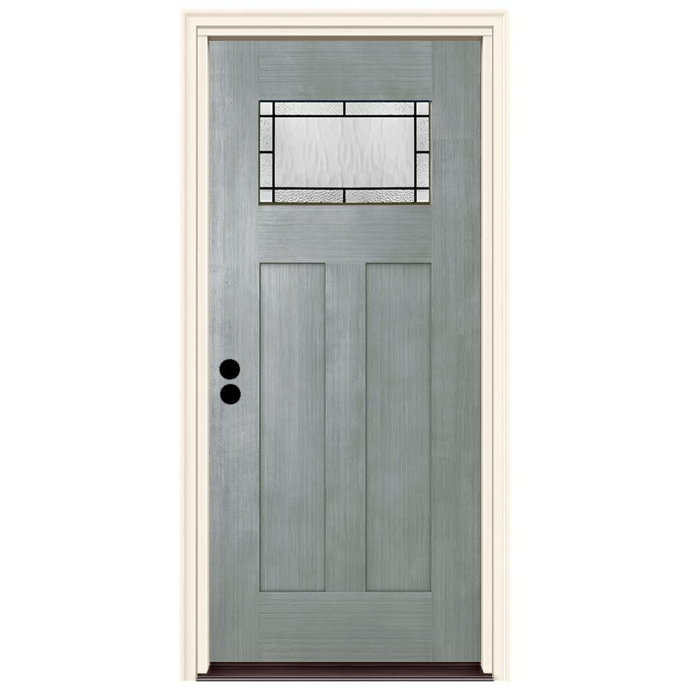 JELD-WEN 36 in. x 80 in. Right-Hand 1-Lite Craftsman Wendover Stone Stained Fiberglass Prehung Front Door with Brickmould