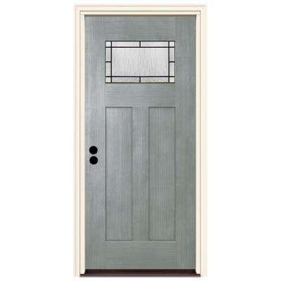36 in. x 80 in. Right-Hand 1-Lite Craftsman Wendover Stone Stained Fiberglass Prehung Front Door with Brickmould