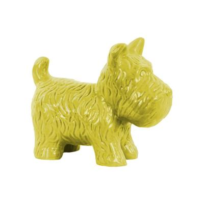 7 in. H Dog Decorative Figurine in Yellow Gloss Finish