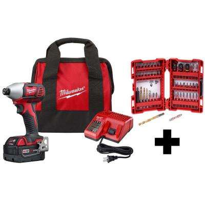 M18 18-Volt Lithium-Ion Cordless 1/4 in. Hex Impact Driver Kit with One 3.0 Ah Battery, Charger and Bag Bit Set