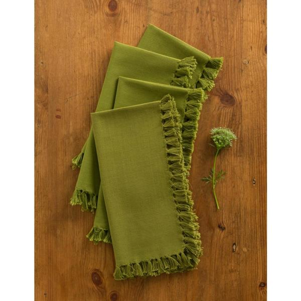 Olive Essential Fringed Napkins (Set of 4)
