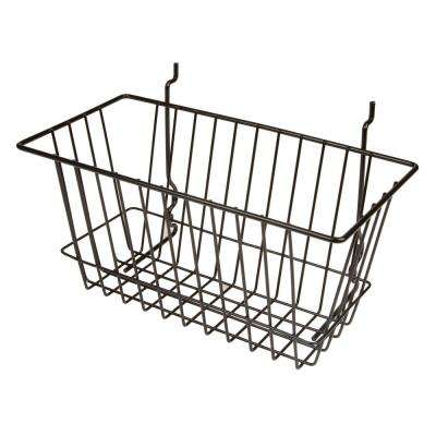 12 in. W x 6 in. D x 6 in. H Black Narrow Basket
