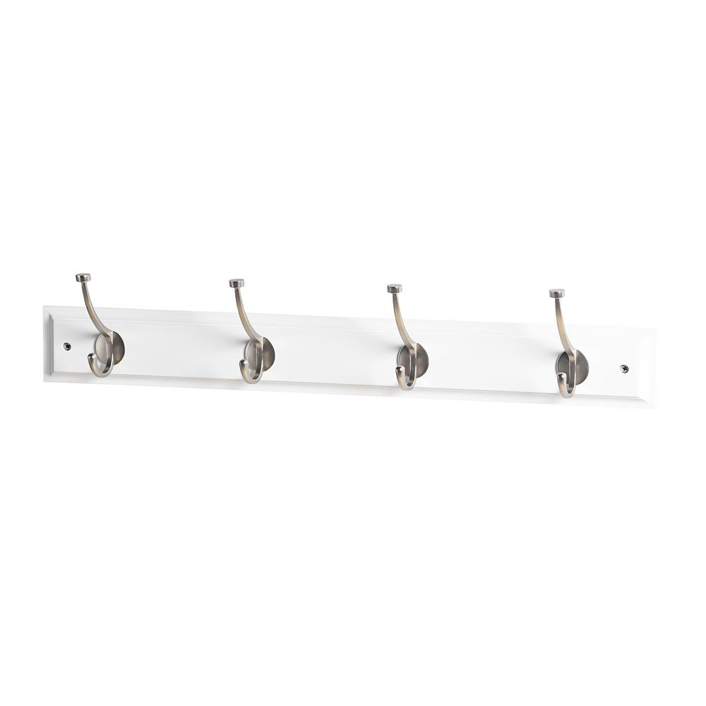 24 in. L Satin Nickel Pill Top 4-Hooks on White Hook