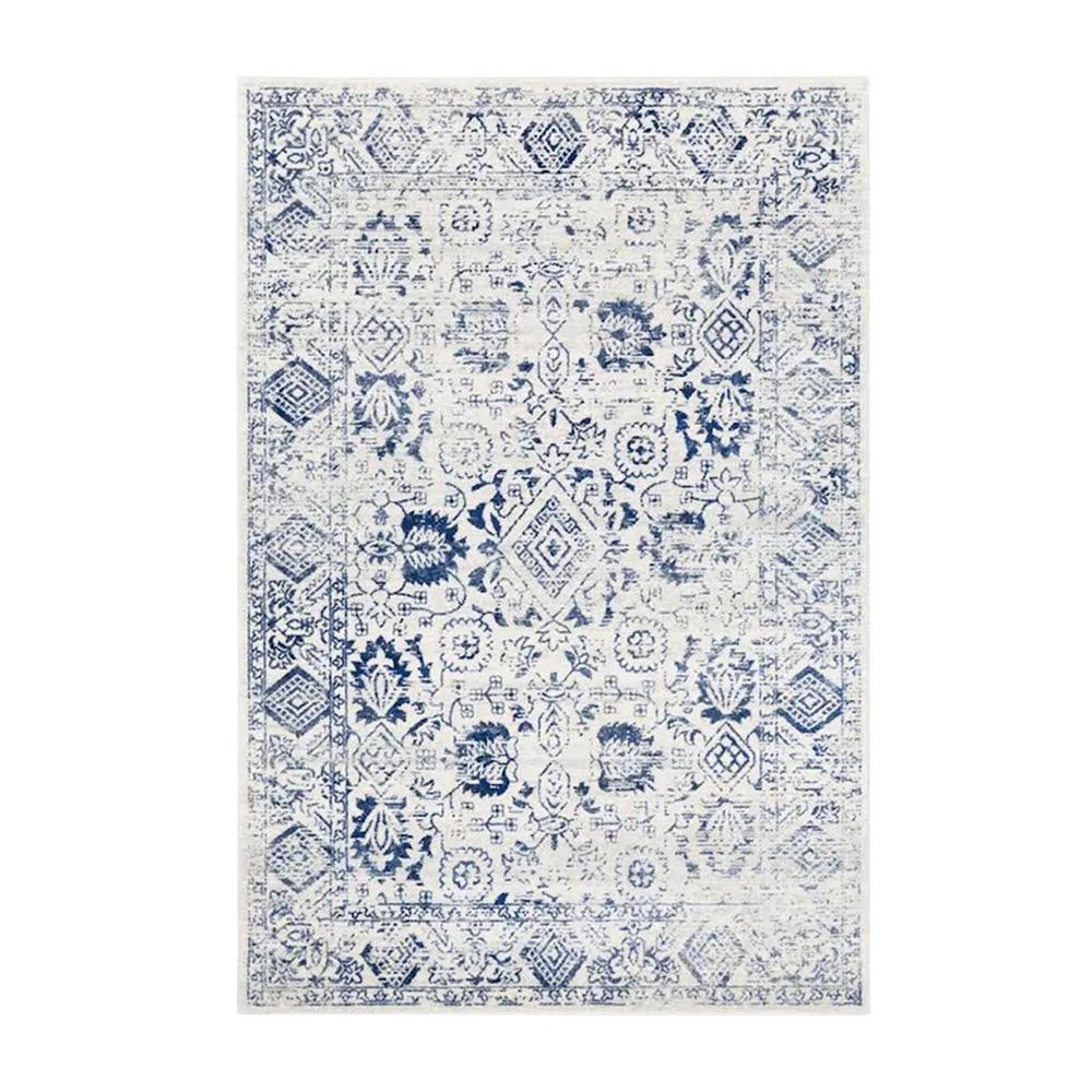 HomeRoots Bernadette Ivory/Blue 5 ft. x 7 ft. Abstract Polypropylene Area Rug